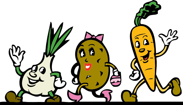 600x344 Cartoon Veggies Running Clip Art