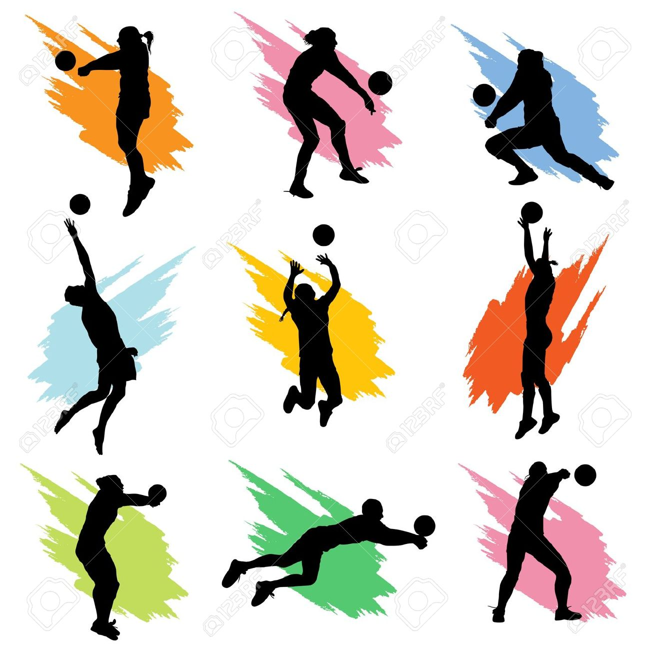 1300x1300 Image of Playing Volleyball Clipart