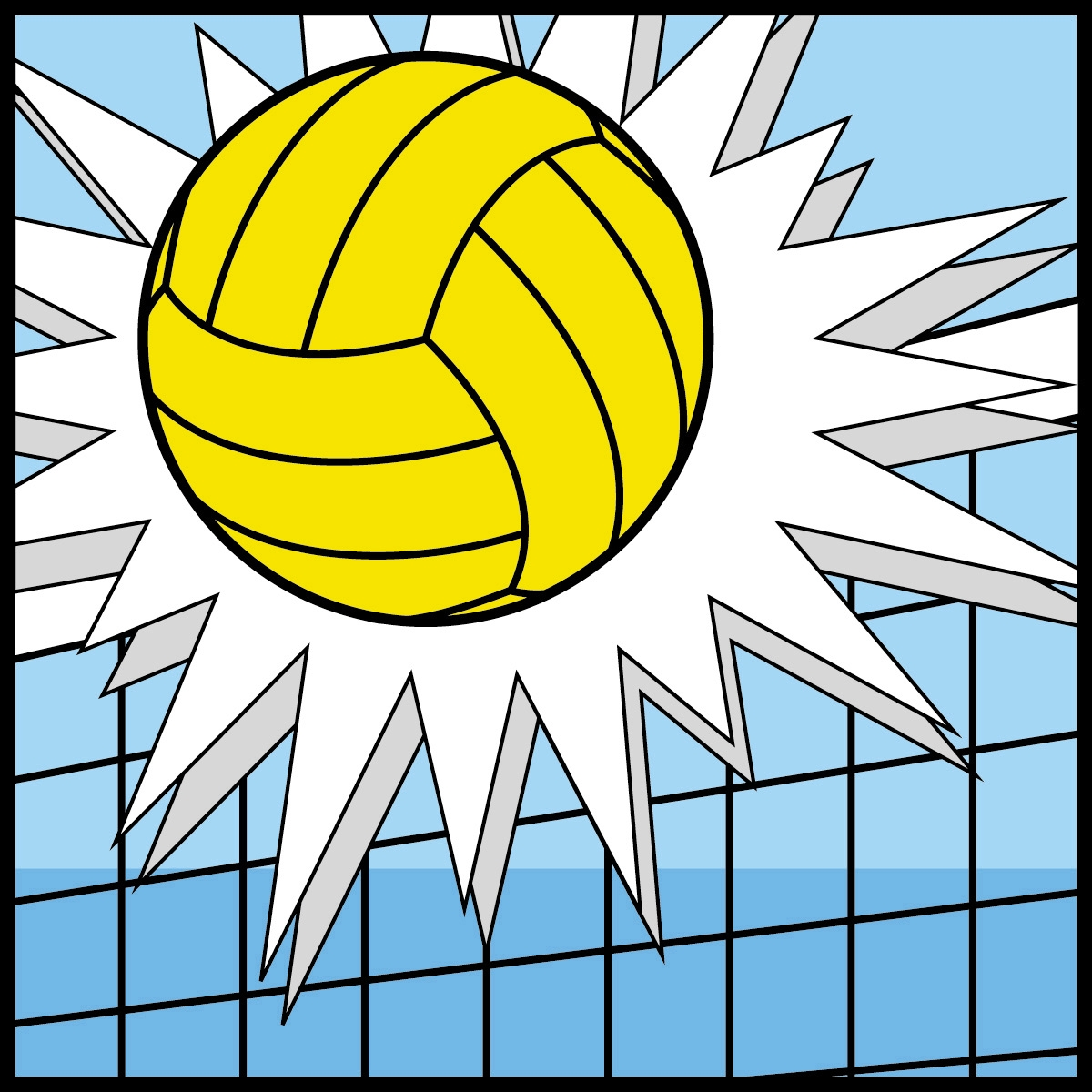 1200x1200 Volleyball clip art animated