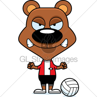 325x325 Cartoon Smiling Volleyball Player Bear Gl Stock Images