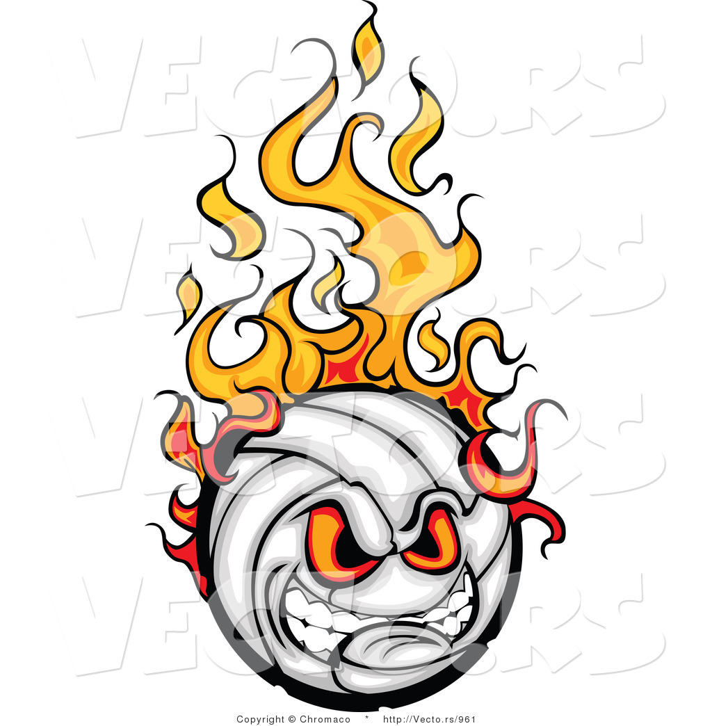 1024x1044 Cartoon Vector Of An Intimidating Volleyball Ball Mascot On Fire