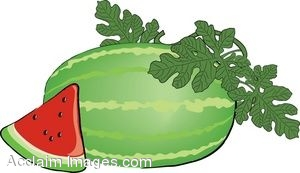 300x173 Clip Art of a Watermelon with Vine