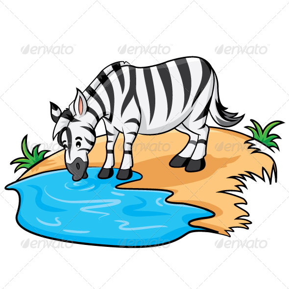 590x590 Zebra Clipart Drinking Water