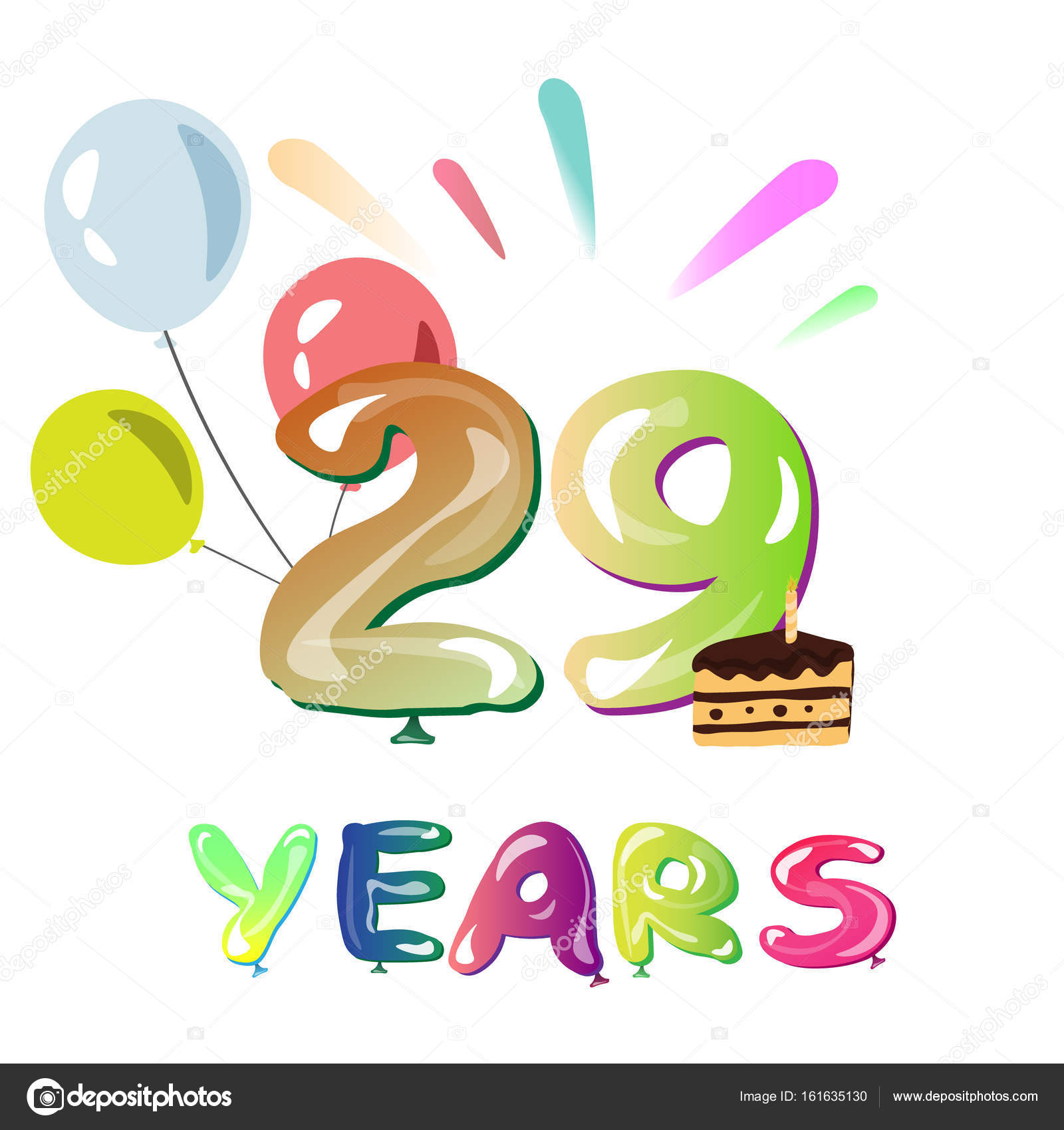 1600x1700 Happy Anniversary 29 Years Stock Vector Sasha Zerg