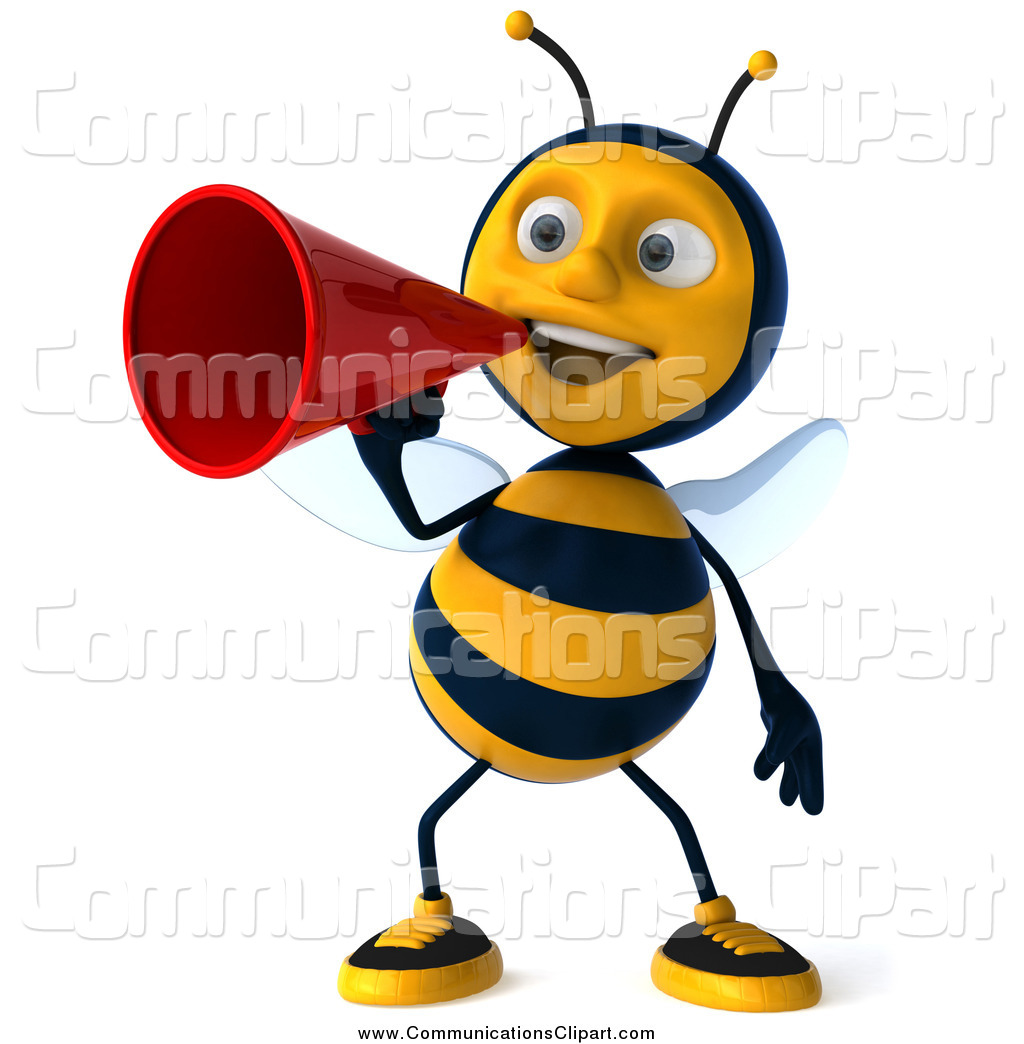 1024x1044 Communication Clipart Of A 3d Bee Announcement With A Megaphone By