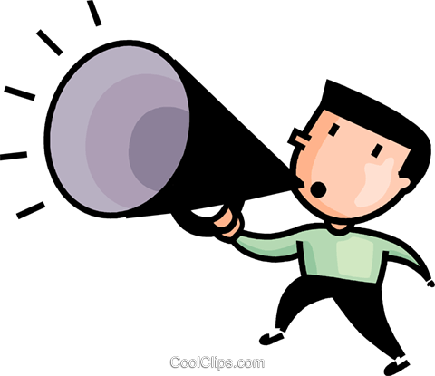 480x415 Man Making Announcements Royalty Free Vector Clip Art Illustration