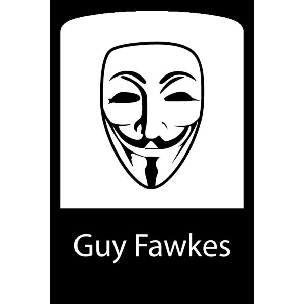600x600 Guy Fawkes Mask Logo Badge Sticker Unixstickers