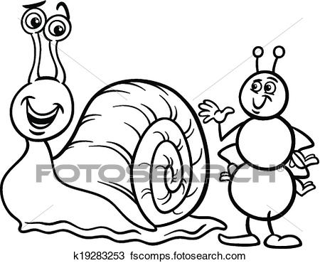 450x370 Clipart Of Ant And Snail Coloring Page K19283253