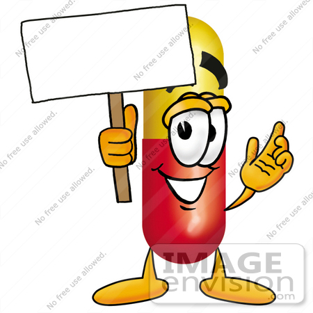 450x450 Clip Art Graphic Of A Red And Yellow Pill Capsule Cartoon