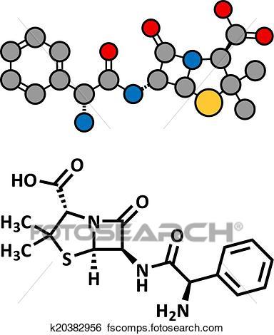 384x470 Clip Art Of Ampicillin Beta Lactam Antibiotic Drug, Chemical
