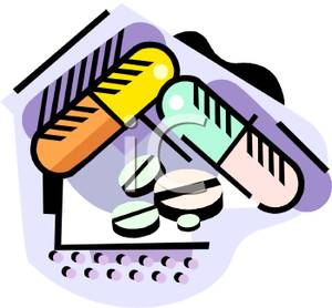 300x278 Gel Caps And Four Pill Tablets Clip Art Image