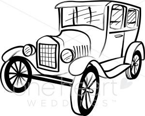 300x240 Classic Model T Clipart Wedding Car Clipart