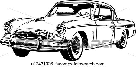 450x222 Clip Art Of , 1955, Automobile, Car, Classic, President