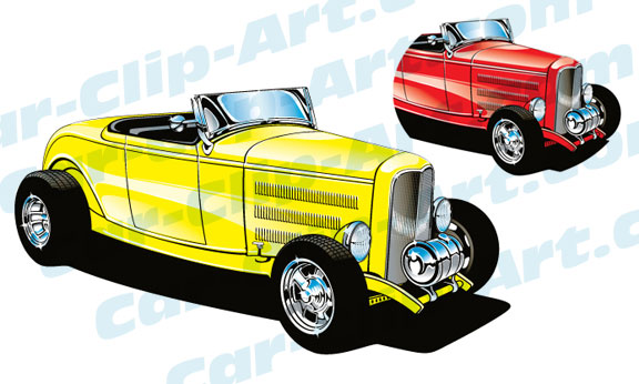 576x346 Custom 1932 Ford 3 Window Hot Rod Vector Clipart 1932 Ford