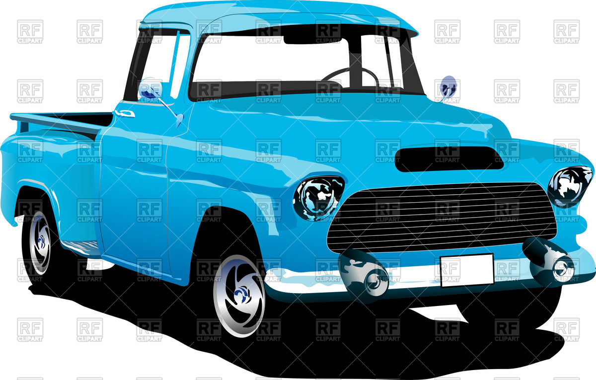 1200x765 Old American Blue Pick Up Truck Royalty Free Vector Clip Art Image