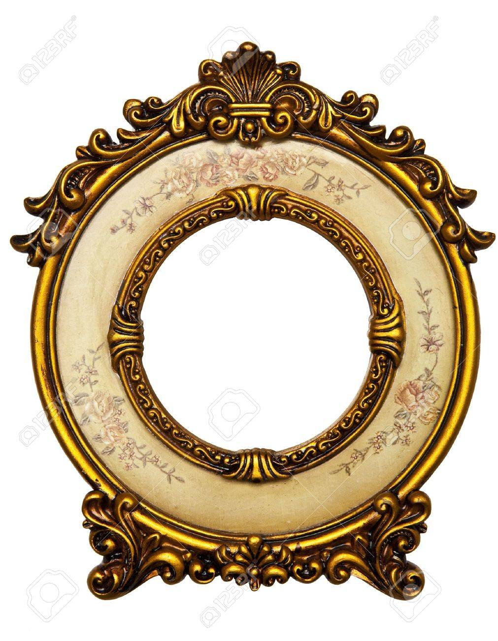 e50eb0c60060 1011x1300 Old Gold Picture Frame On White Background Stock Photo