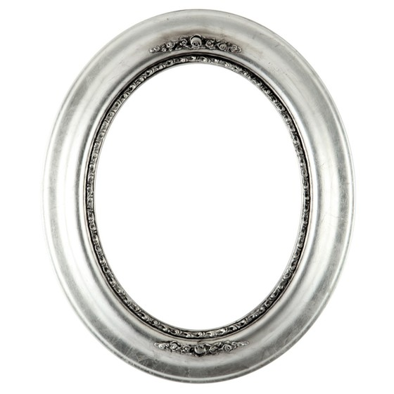 560x560 Oval Frame Series 457 Silver Leaf With Black Antique