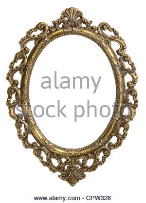 300x417 Ancient Empty Oval Picture Frame With Glass Pane Stock Photo