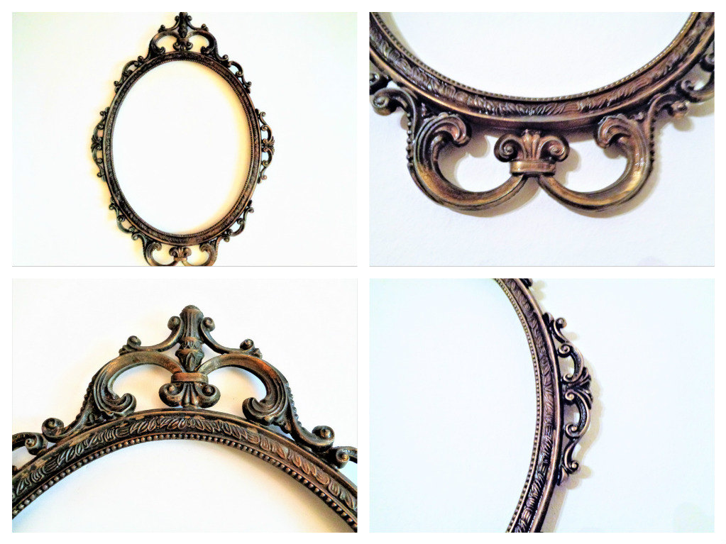 1023x767 Antique Oval Brass Frame, Mirror Frame, Metal Picture Frame