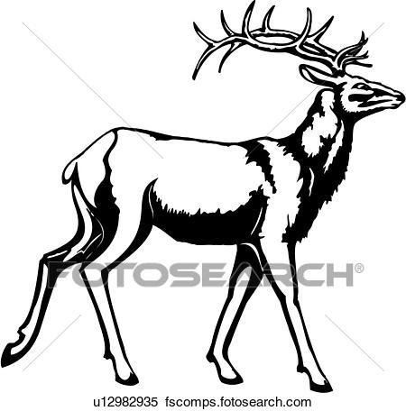 450x456 Clipart Of , Animal, Antlers, Reindeer, Stag, Deer, U12982935