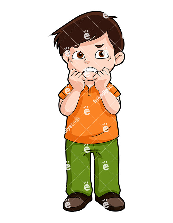 585x755 Anxious Little Boy Biting His Nails Vector Clipart