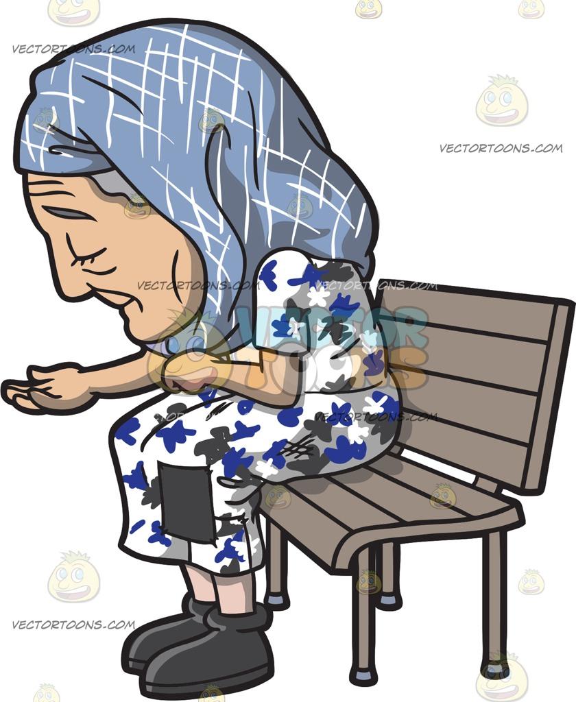 840x1024 An Old Homeless Woman At A Run Down Apartment Building Cartoon