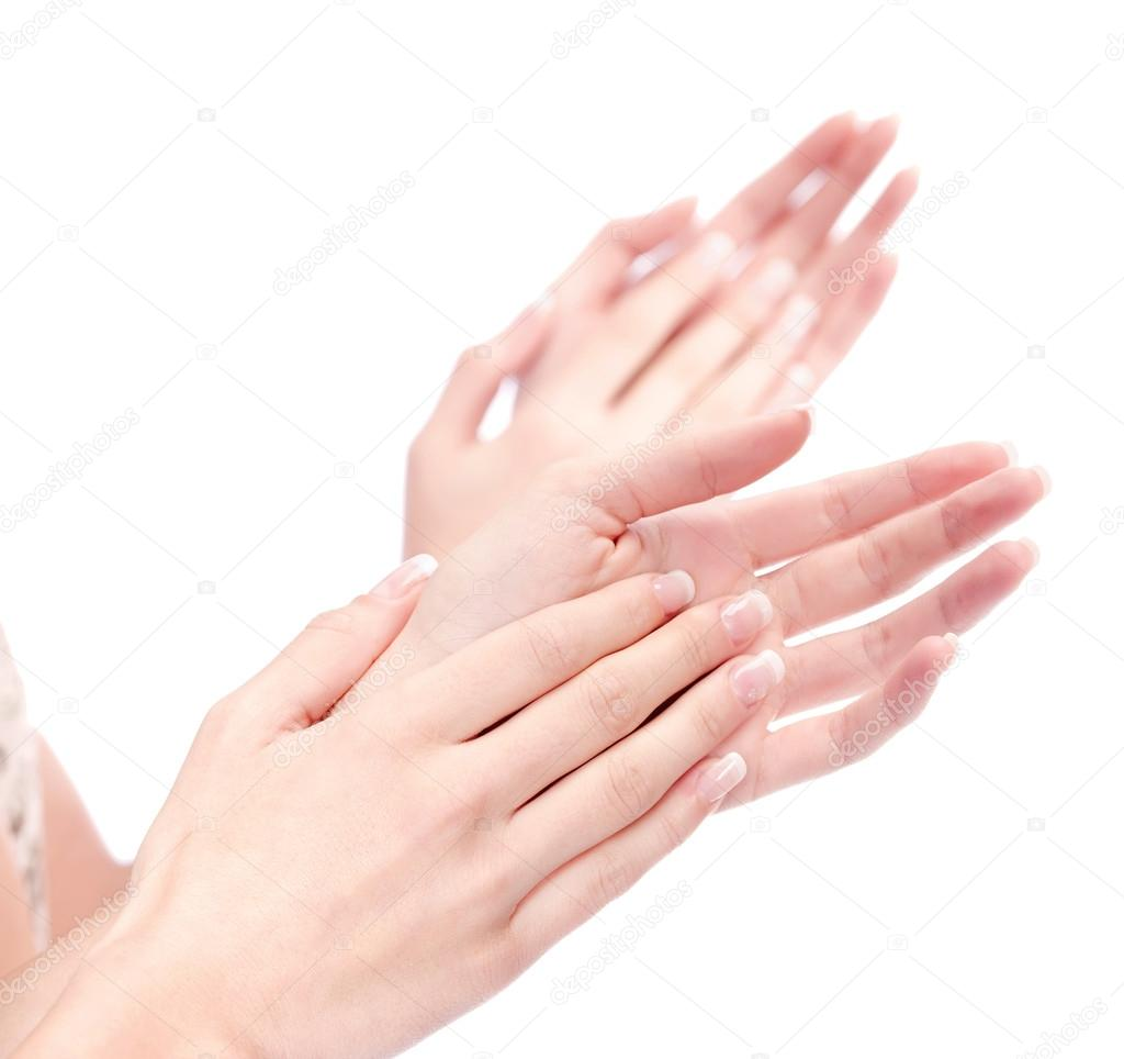 1024x964 Two Woman Hands Applauding, Isolated On White Stock Photo