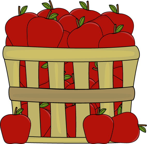568x555 Apples In A Basket Clip Art