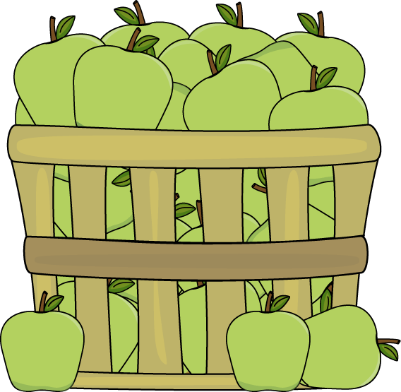 568x555 Basket Of Green Apples Clip Art