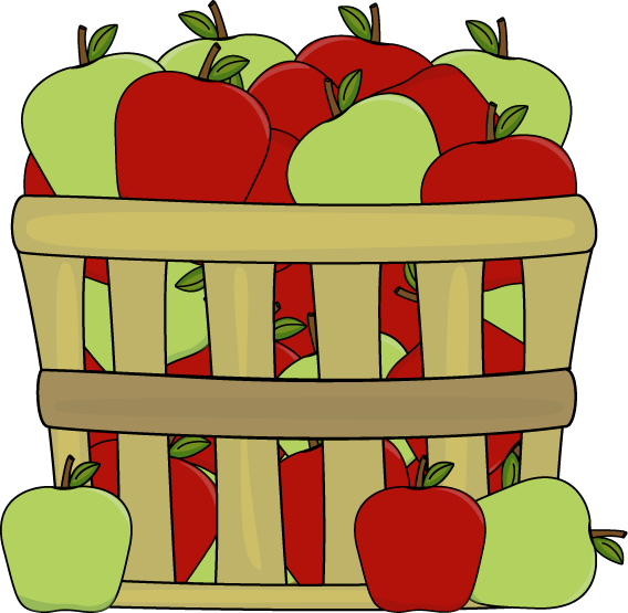 568x555 Basket Of Red And Green Apples Clip Art