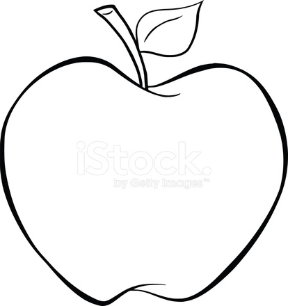414x440 Black And White Cartoon Apple Stock Vector