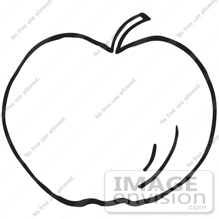 450x450 Clipart Of An Apple In Black And White