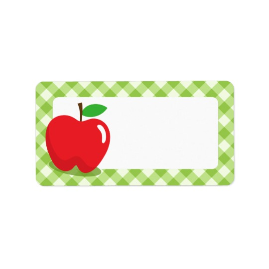 540x540 Apple Border Red Apple Green Gingham Pattern Border Blank Label