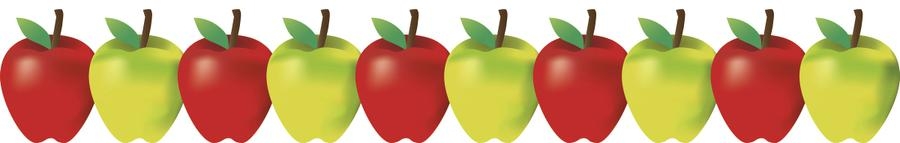 900x143 Green And Red Apples Bulletin Board Border 33650