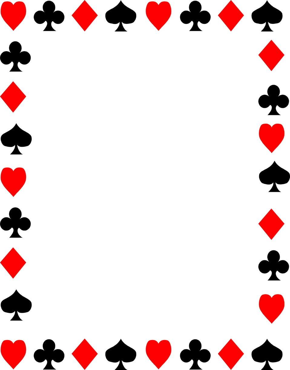 958x1223 Border Symbol Playing Cards Clipart