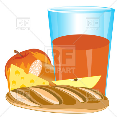 400x400 Glass Of Juice, Apple, Cheese And Bread On White Background