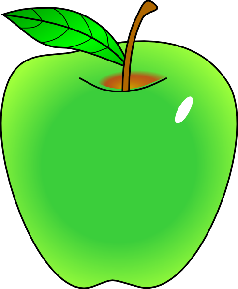 492x597 Shaded Green Apple Clip Art
