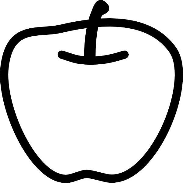 600x600 Apple Black And White Clip Art