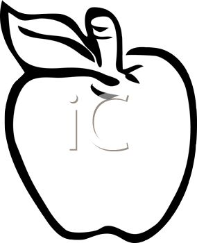 284x350 Clip Art Illustration Of An Outline Of An Apple