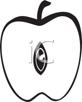 279x350 Picture Of An Apple Cut In Half In A Vector Clip Art Illustration