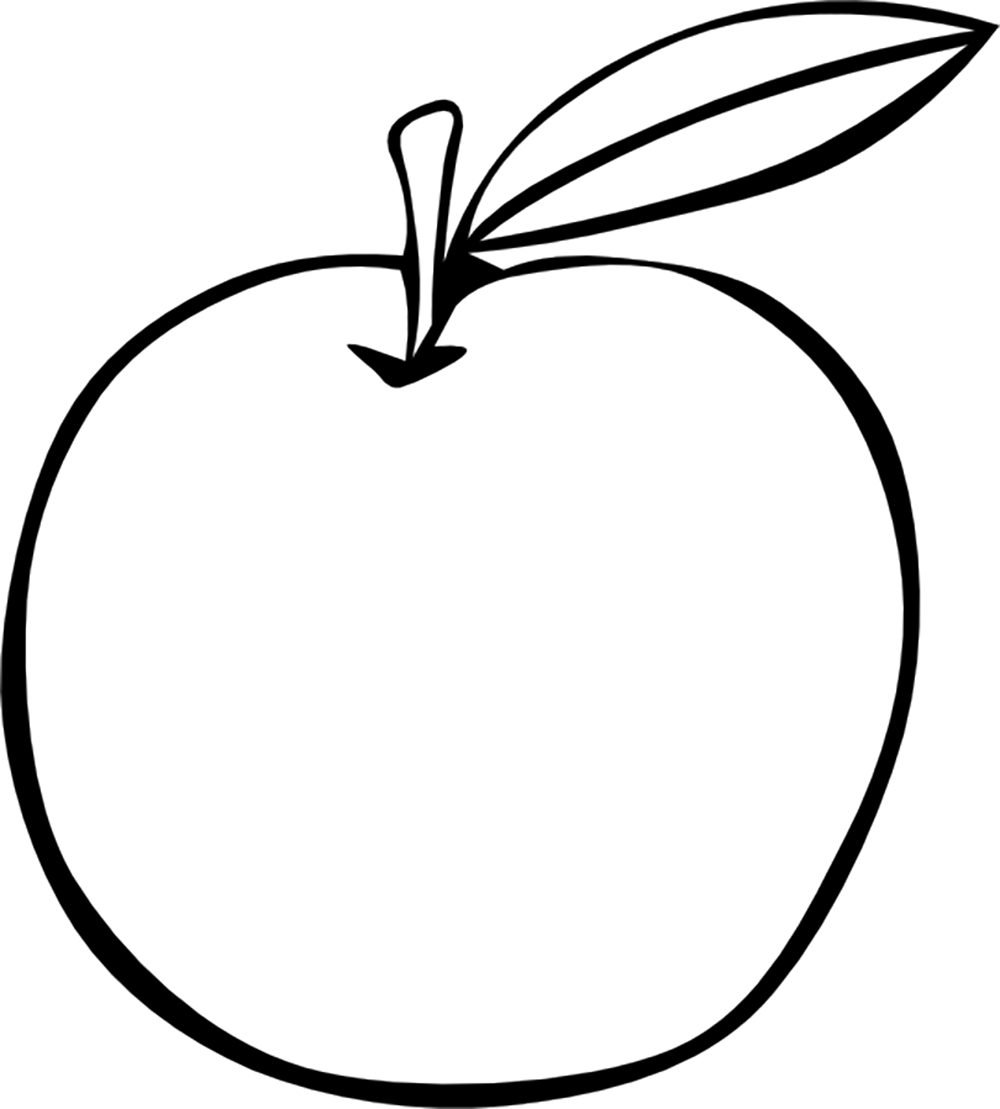 1000x1109 Apple Clipart Colouring Page