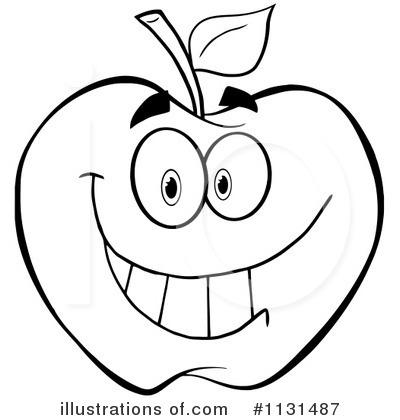 400x420 Apple Clipart B W