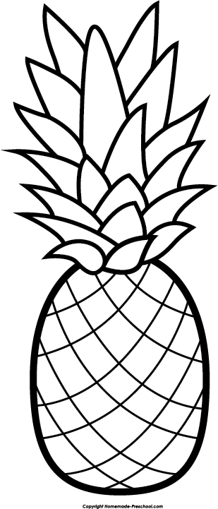 309x721 Free Pineapple Clipart Black And White Image