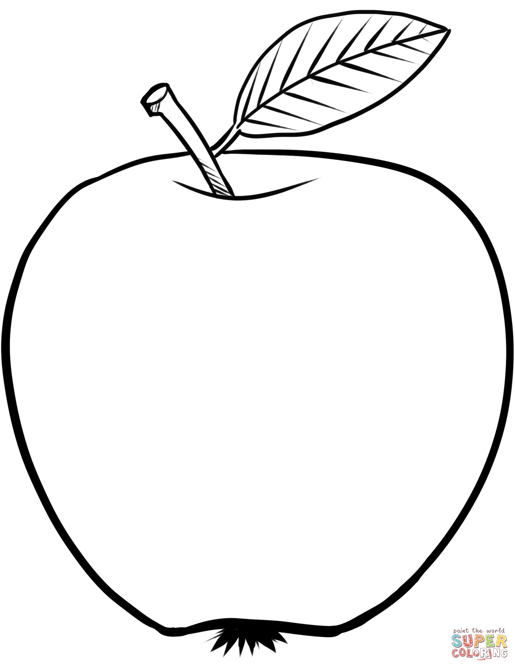 1685x2180 Apple Clipart Colouring Page