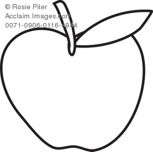 300x298 Apple Coloring Page With Leaf Royalty Free Clip Art Image
