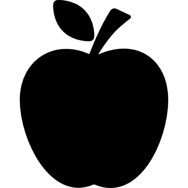 626x626 Apple Black Silhouette With A Leaf Icons Free Download