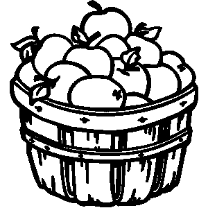 300x300 Basket Of Apples Clipart Black And White