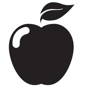 300x300 Apple Clipart Balck White
