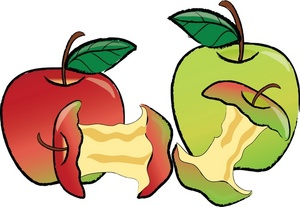 300x207 Half Eaten Apple Clip Art