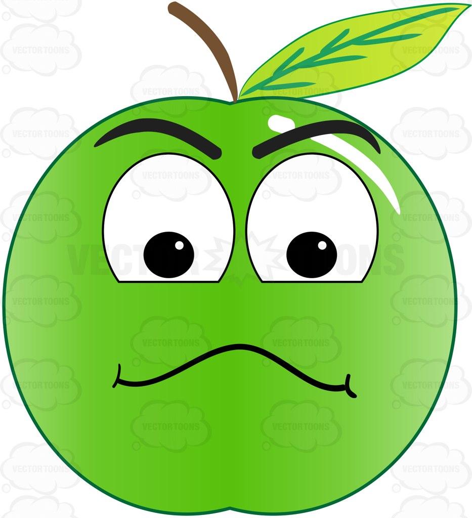 933x1024 Examining Look On Green Apple Emoji Cartoon Clipart